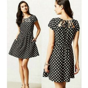 {Anthropologie}Maeve polka dot fit and flare dress